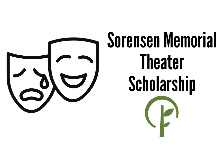 Icon of two masks symbolizing the theater, and the logo for the Community Foundation of Northern Illinois.