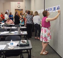 Cohort members participate in a data walk_edited