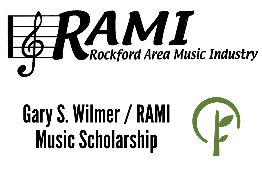 Logos for RAMI (Rockford Area Music Industry) and the Community Foundation of Northern Illinois
