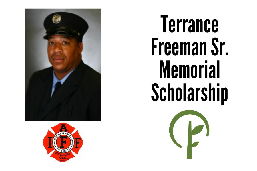 Photo of Terrance Freeman Sr. Logos for the International Association of Firefighters and the Community Foundation of Northern Illinois.