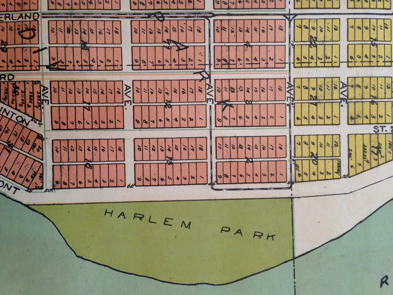 Plat map with Harlem Park and Edgewater