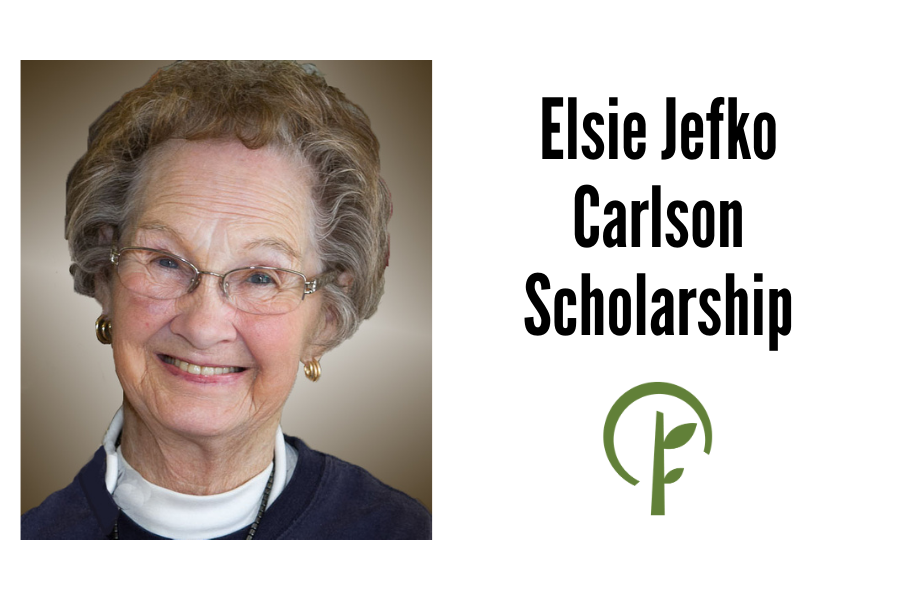 Photo of Elsie Jefko Carlson and logo for the Community Foundation of Northern Illinois