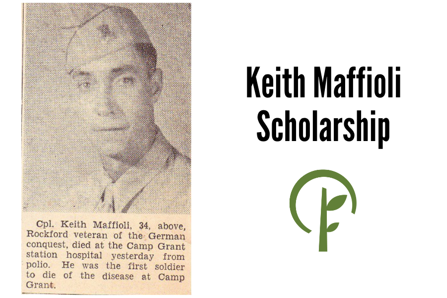 Image of newspaper article announcing the death of Corporal Keith Maffioli. Community Foundation of Northern Illinois logo.
