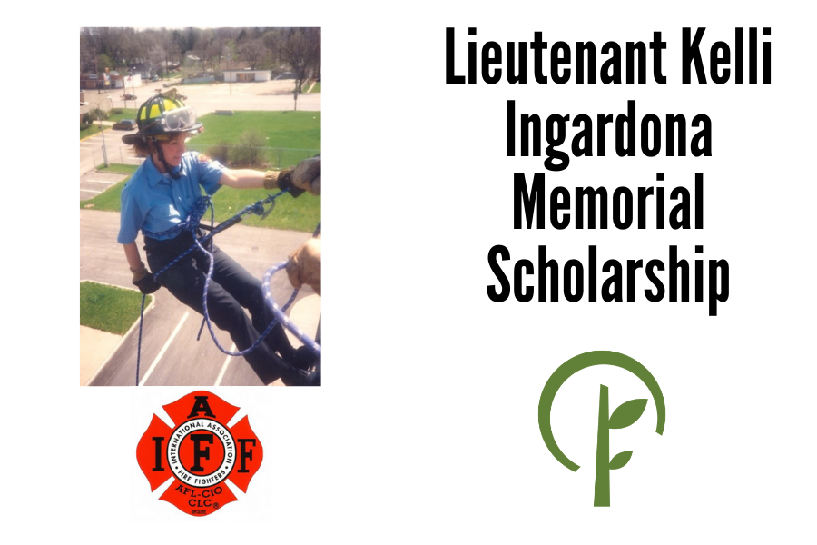 Picture of Lieutenant Kelli Ingardona rappelling off a building. Logos of the International Association of Firefighters and the Community Foundation of Northern Illinois.