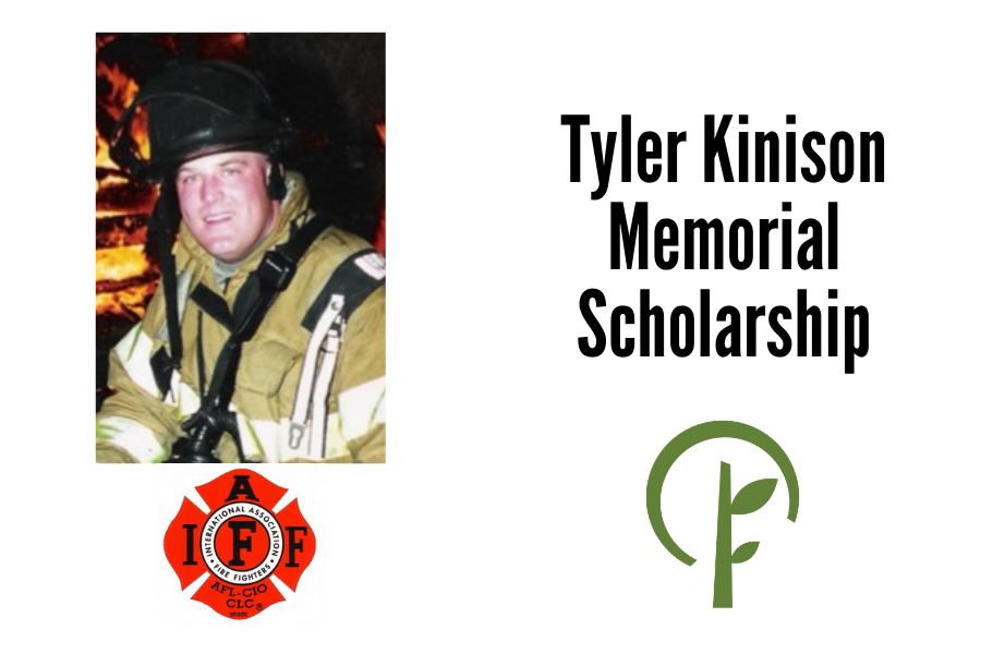 Photo of Tyler Kinison. Logos for the International Association of Firefighters and the Community Foundation of Northern Illinois.