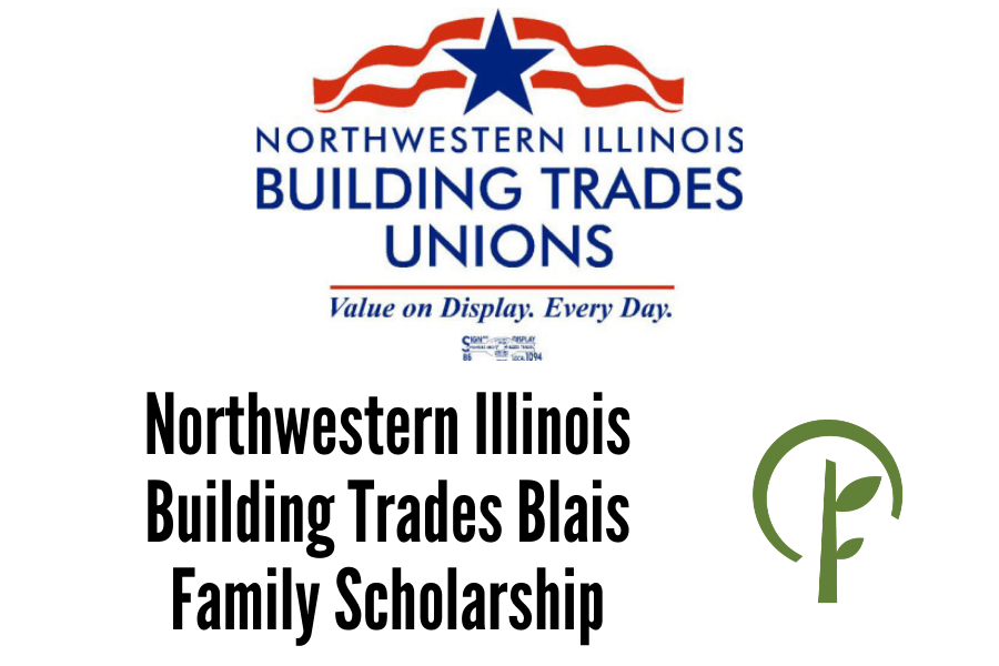 Logos for Northwestern Illinois Building Trades Unions and the Community Foundation of Northern Illinois.