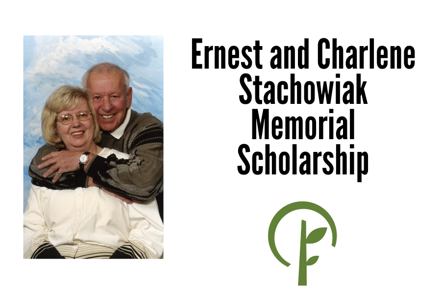 Photo of Ernest and Charlene Stachowiak and logo for the Community Foundation of Northern Illinois