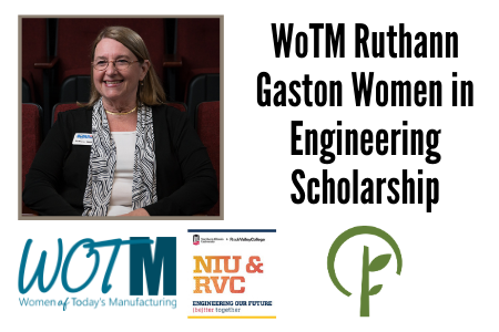 Photo of Ruthan Gaston. Logos for WOTM, Northern Illinois University & Rock Valley College Engineering program, and the Community Foundation of Northern Illinois.