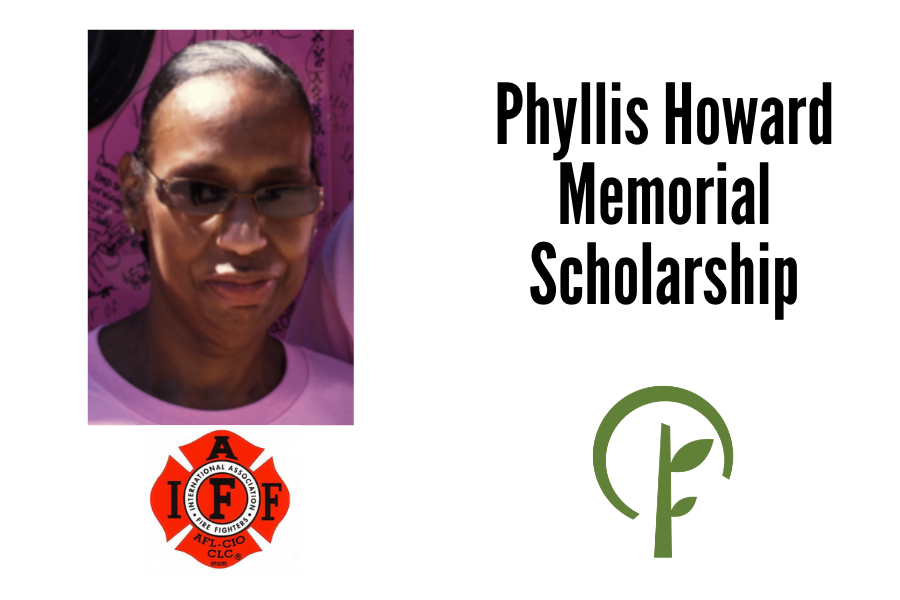 Picture of Phyllis Howard. Logos for the International Association of Firefighters and the Community Foundation of Northern Illinois.