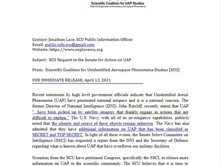 Press Release: SCU Request to the Senate for Action on UAP
