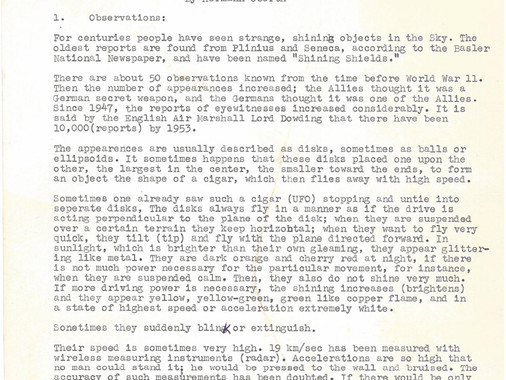 Lecture Notes on UFO Properties - by Herman Oberth from 1954