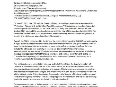 Press Release: SCU Statement regarding the ODNI Preliminary Assessment of UAP
