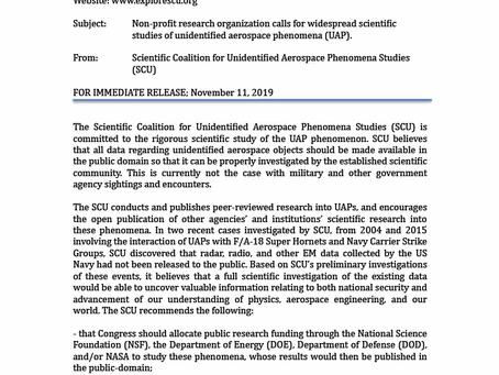 Press Release: SCU Non-profit Research Organization calls for widespread scientific studies of UAPs