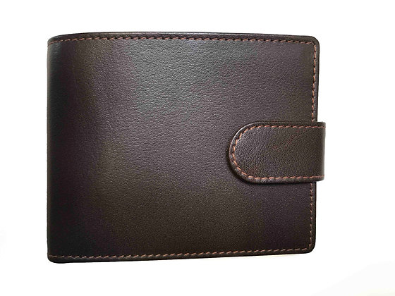 Vedge Tan leather Bi-fold Wallet with Credit Card Flap