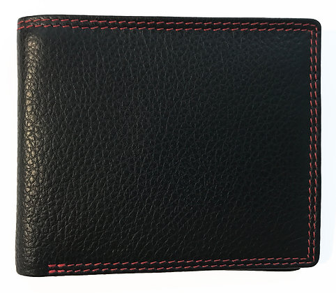 Red Trim Nappa Leather Wallet