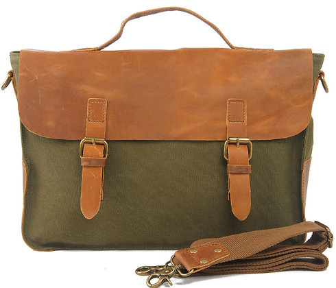 Tan VT Leather and Canvas Satchel