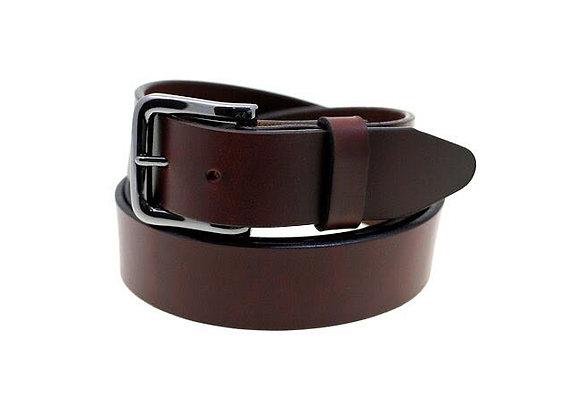 Gun Metal Buckle Brown Leather Belt