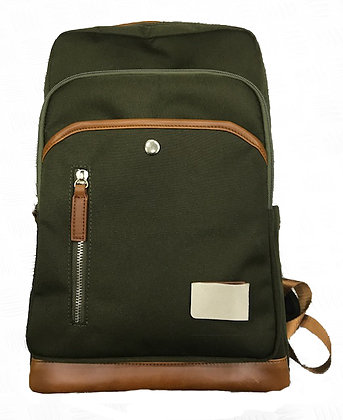 Canvas & Tan Leather Backpack