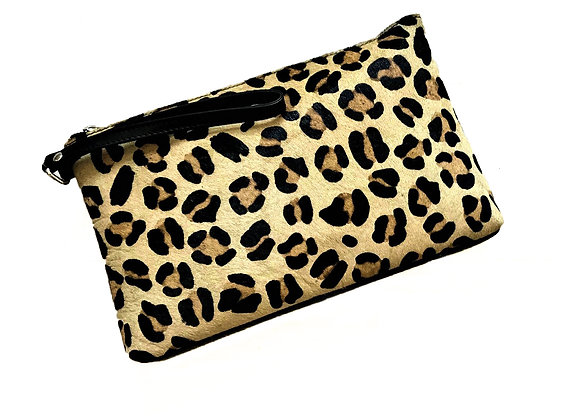 Animal Print and Soft Black Nappa  Clutch