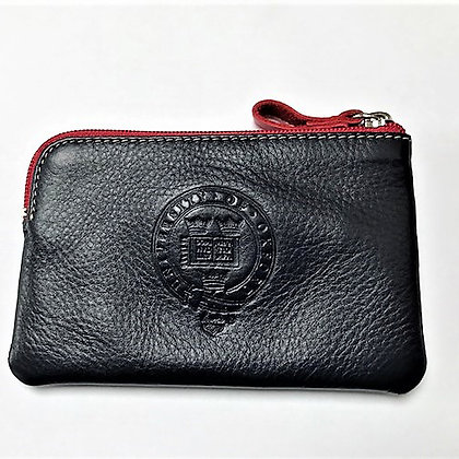 Black Nappa Leather Coin Purse with Red Zipper