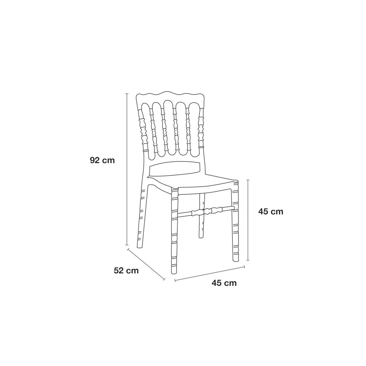 Permatomos kėdės išmatavimai
