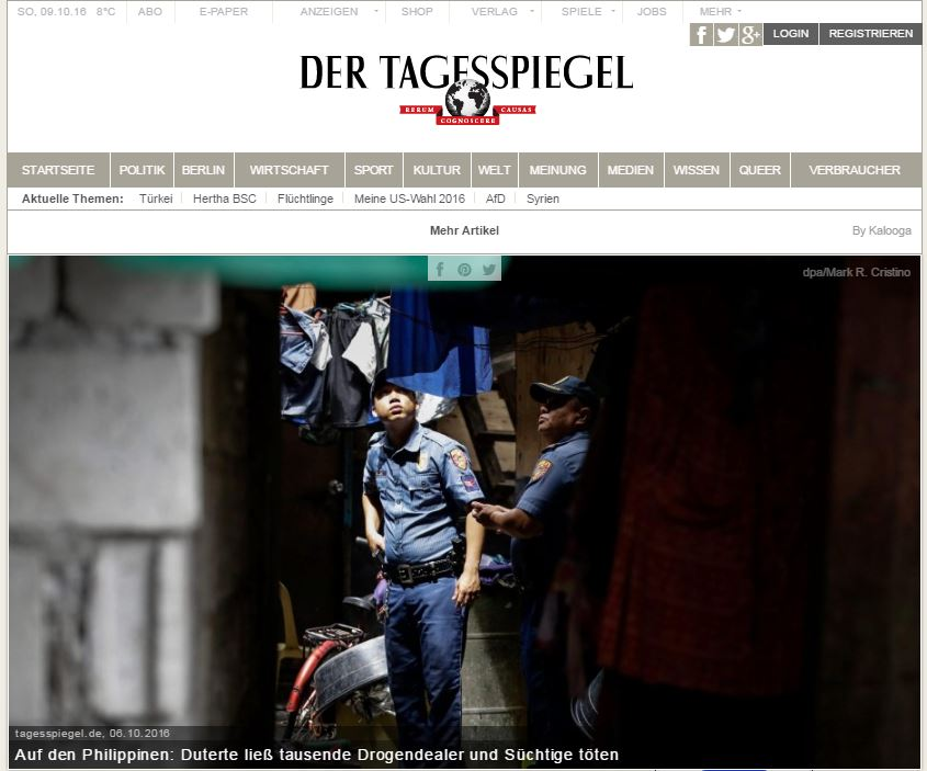 2016_10_08 Anti Drug campaign Der Tagesspiegel