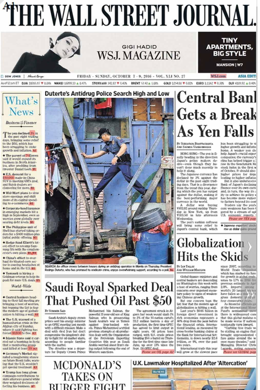 2016_10_09 anti drugs WSJ front