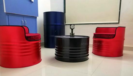 Lounge setup from oil barrel