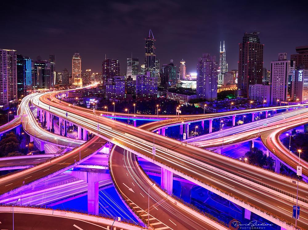 Nine Dragon Interchange at Night Shanghai, China | David Shedlarz Photography