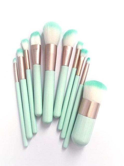 """""""Kate"""" Mint Green 10 piece Makeup Brush set."""