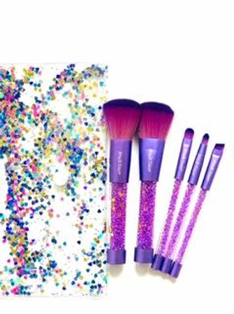 """Olivia"" Purple Bling 5 piece makeup brush set. Case included."