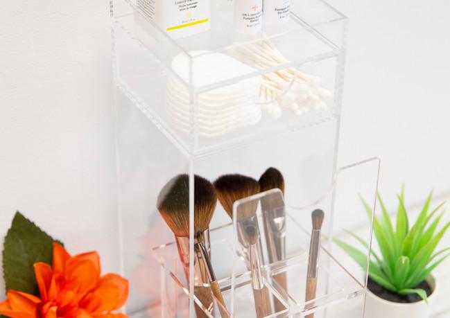 Brushtower makeup brush and cosmetics storage