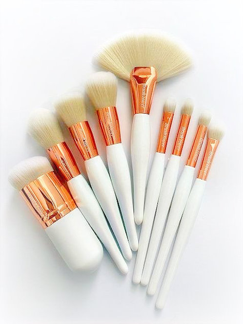 """Ariana"" Curvy White Handles with Rose Gold Ferrule 9 piece set"