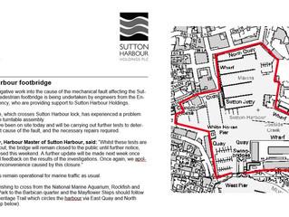 Sutton Harbour footbridge closed