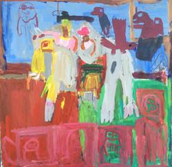 Kelvin Burke, elephant, acrylic and pen on canvas