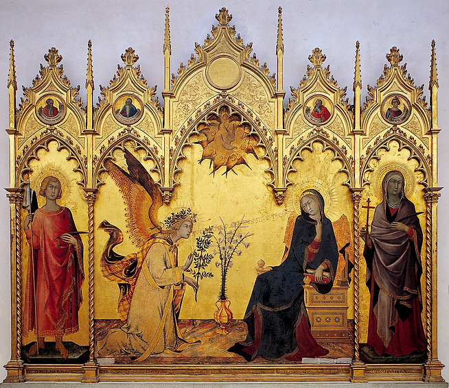1333 - Annunciation and Two Saints - Galleria degli Uffizi, Florence (foto Wikipedia).jpg