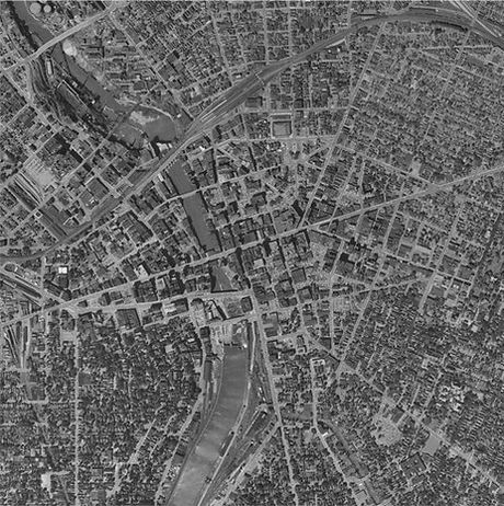 Aerial shot of Downtown Rochester before constrution of the Inner Loop (1951)