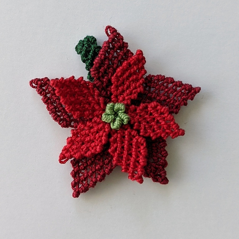 Turkish Needle Lace Virtual Class Poinsettia for Winter