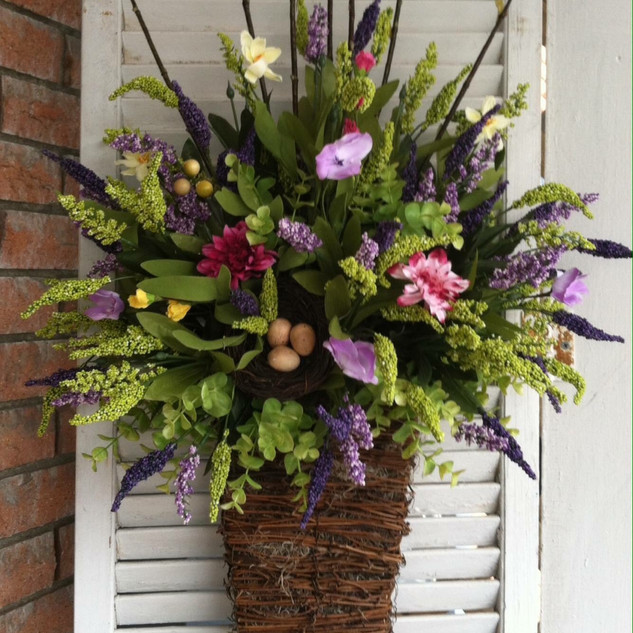 Spring Purple, Pink and Green Basket Bef