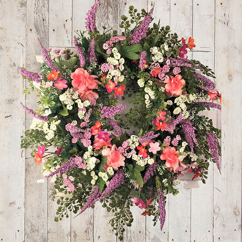 Purple, Pink, Coral Spring Wreath
