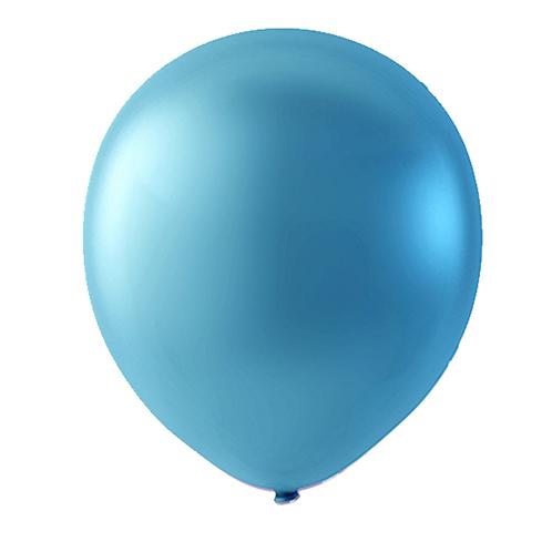 """Globo Látex Metálico Color Azul Perla 9"""" (50 piezas)"""