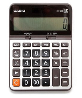 CALCULADORA BASICA CASIO DX-120B (GRIS, 12 DIG.)