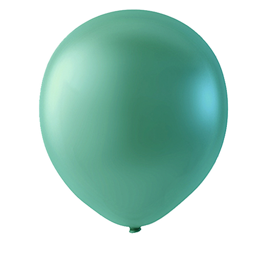 """Globo Látex Metálico Color Verde Perla 9"""" (50 piezas)"""