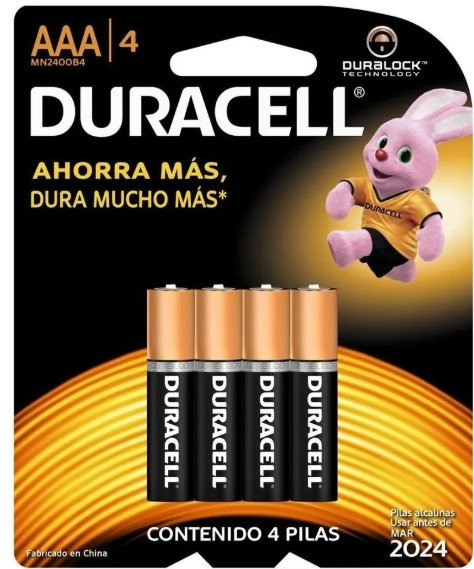 BATERIA ALCALINA AAA (4 PZ)  DURACELL  PAQUETE