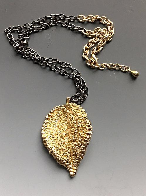 Large Textured Leaf Pendant Necklace