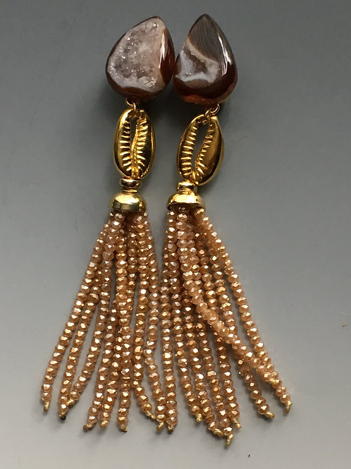 Geode & Cowrie Shell Tassel Earrings