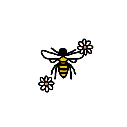 bee transparent with flowers.png