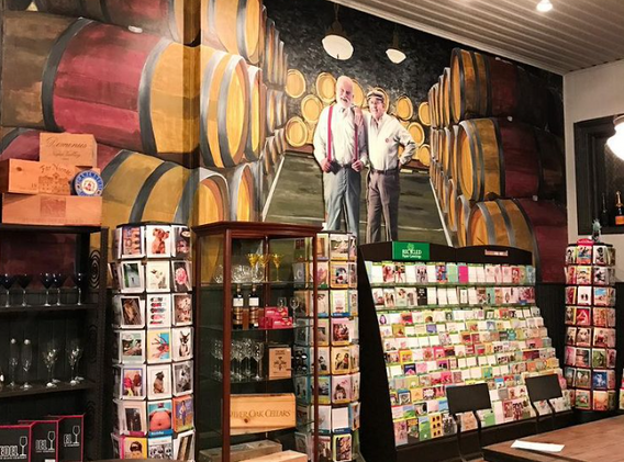 Hausfrau Haven wine cave mural