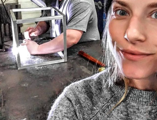 Jordanne learning how to weld