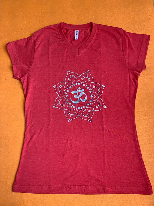 Silver Om T Shirt Ladies Red